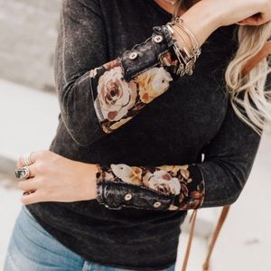 Able Mineral Washed Floral Cuffed Shirt